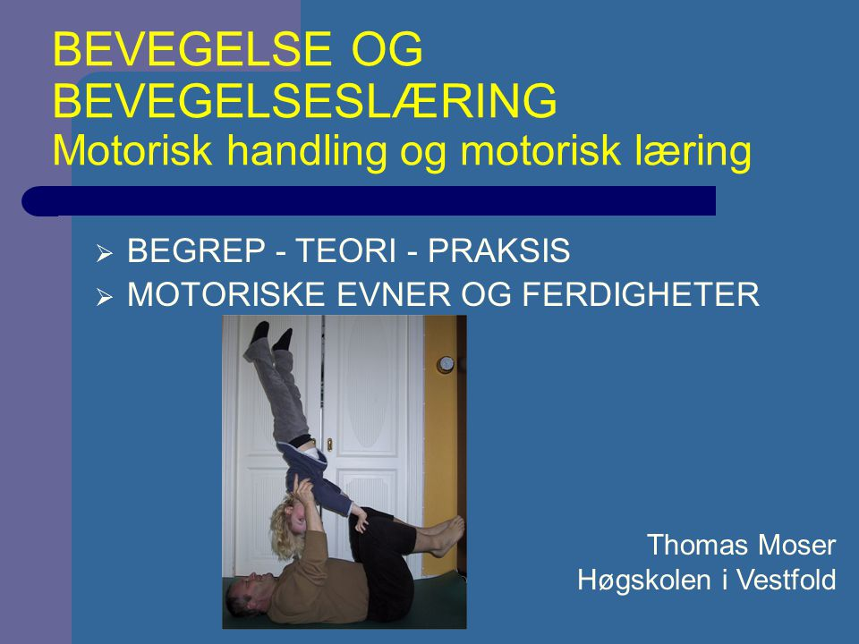 1.Perceiving the relevant environmental feature 2.Deciding what to do and where and when to do it 3.Producing organized muscular activity to generate movements TRE VIKTIGE ELEMENTER FOR FERDIGHETER (Schmidt, 1999)