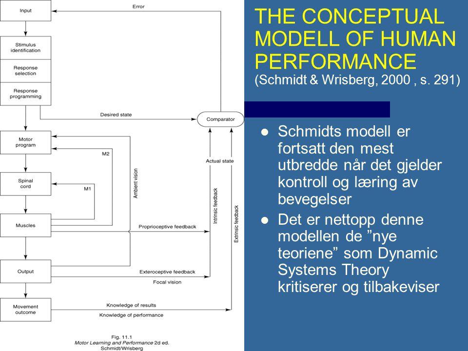 """Schmidts modell er fortsatt den mest utbredde når det gjelder kontroll og læring av bevegelser Det er nettopp denne modellen de """"nye teoriene"""" som Dyn"""