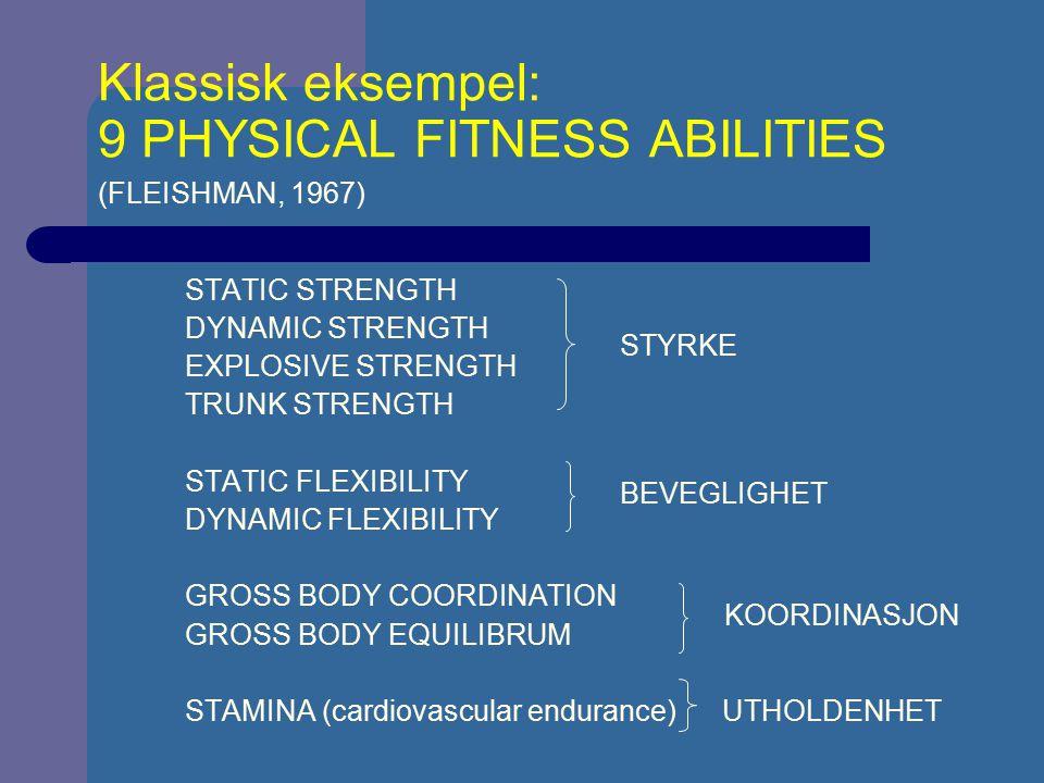 Klassisk eksempel: 9 PHYSICAL FITNESS ABILITIES (FLEISHMAN, 1967) STATIC STRENGTH DYNAMIC STRENGTH EXPLOSIVE STRENGTH TRUNK STRENGTH STATIC FLEXIBILIT