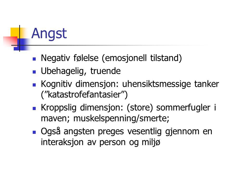 """Angst Negativ følelse (emosjonell tilstand) Ubehagelig, truende Kognitiv dimensjon: uhensiktsmessige tanker (""""katastrofefantasier"""") Kroppslig dimensjo"""