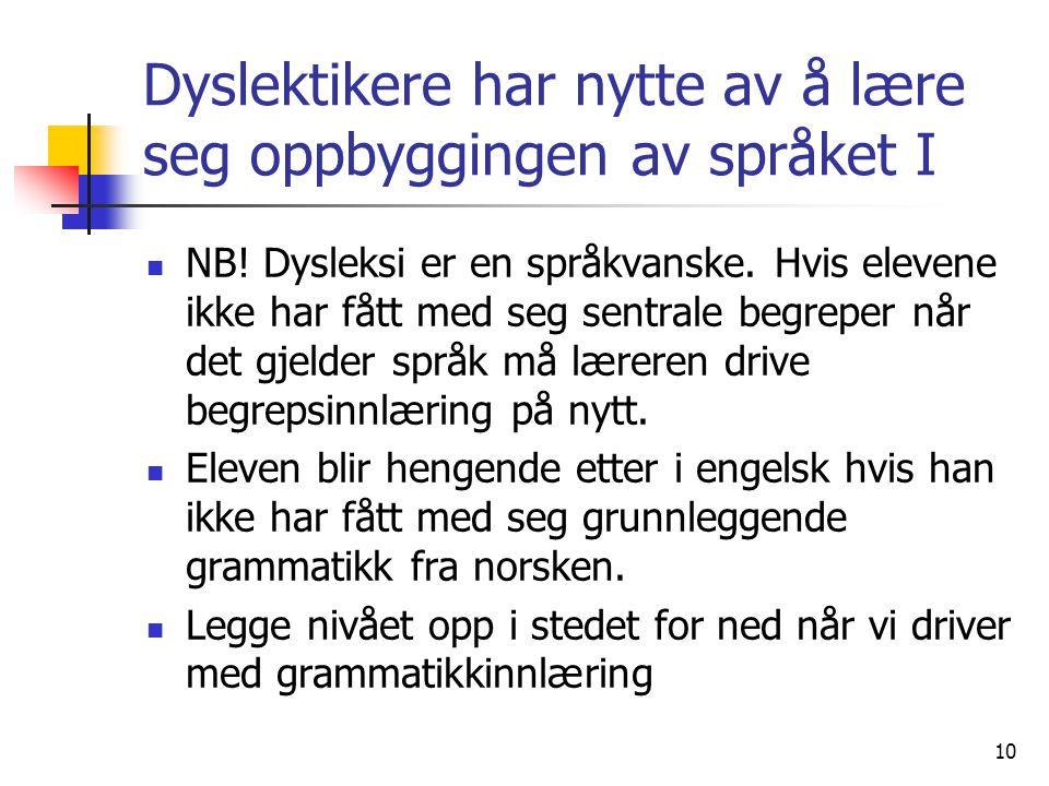 10 Dyslektikere har nytte av å lære seg oppbyggingen av språket I NB! Dysleksi er en språkvanske. Hvis elevene ikke har fått med seg sentrale begreper