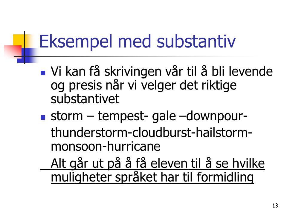 13 Eksempel med substantiv Vi kan få skrivingen vår til å bli levende og presis når vi velger det riktige substantivet storm – tempest- gale –downpour