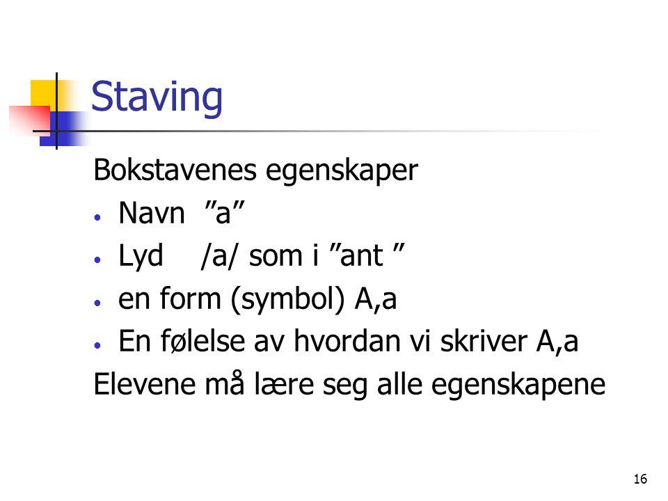 """16 Staving Bokstavenes egenskaper Navn """"a"""" Lyd /a/ som i """"ant """" en form (symbol) A,a En følelse av hvordan vi skriver A,a Elevene må lære seg alle ege"""