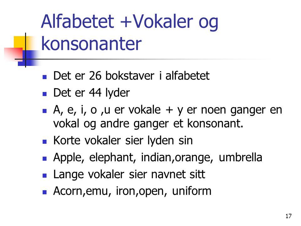 17 Alfabetet +Vokaler og konsonanter Det er 26 bokstaver i alfabetet Det er 44 lyder A, e, i, o,u er vokale + y er noen ganger en vokal og andre gange