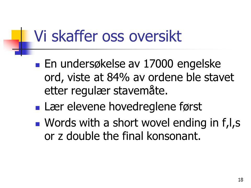 18 Vi skaffer oss oversikt En undersøkelse av 17000 engelske ord, viste at 84% av ordene ble stavet etter regulær stavemåte. Lær elevene hovedreglene