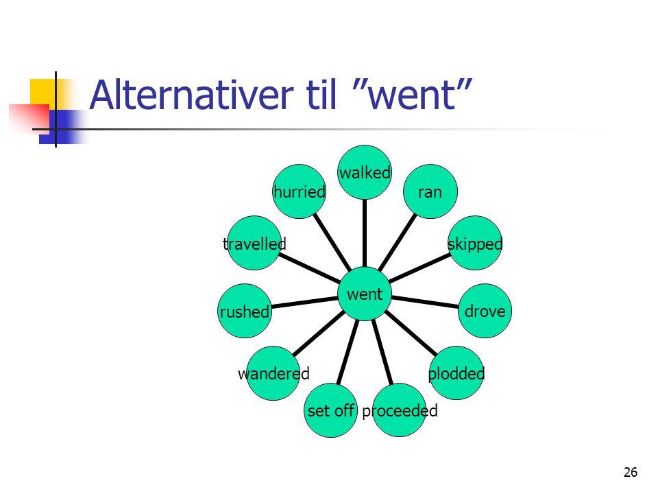"26 Alternativer til ""went"" went walkedranskippeddroveploddedproceededset offwanderedrushedtravelledhurried"