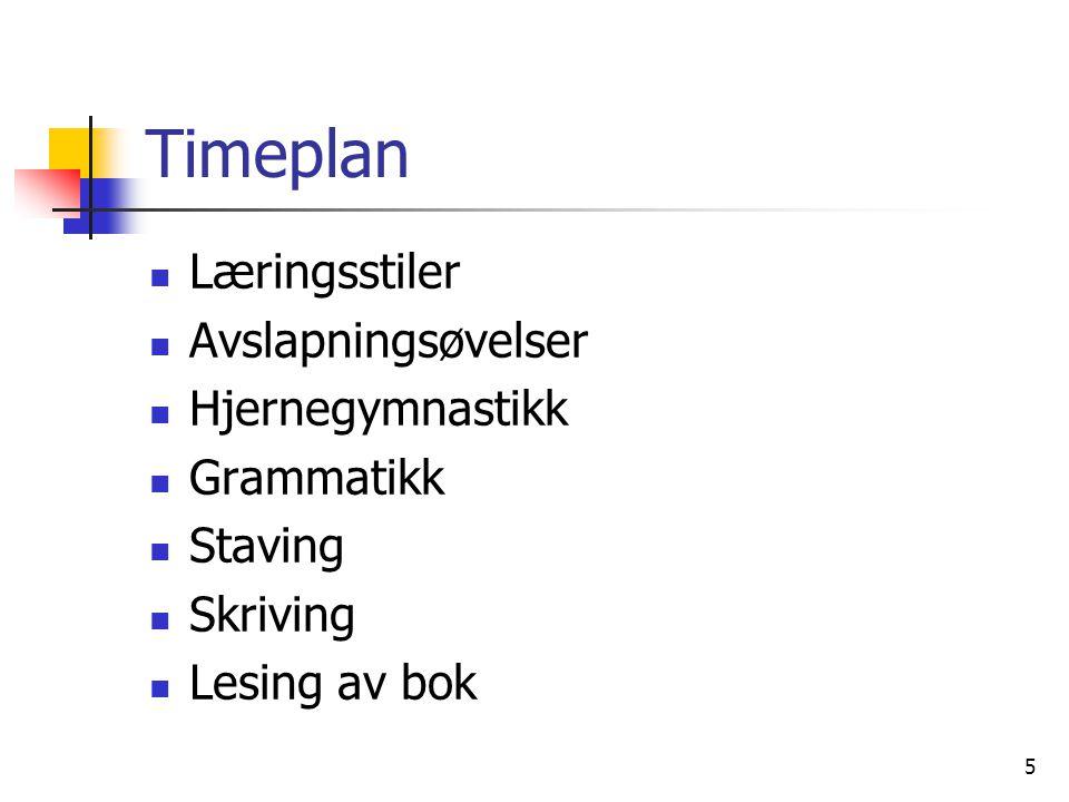 5 Timeplan Læringsstiler Avslapningsøvelser Hjernegymnastikk Grammatikk Staving Skriving Lesing av bok