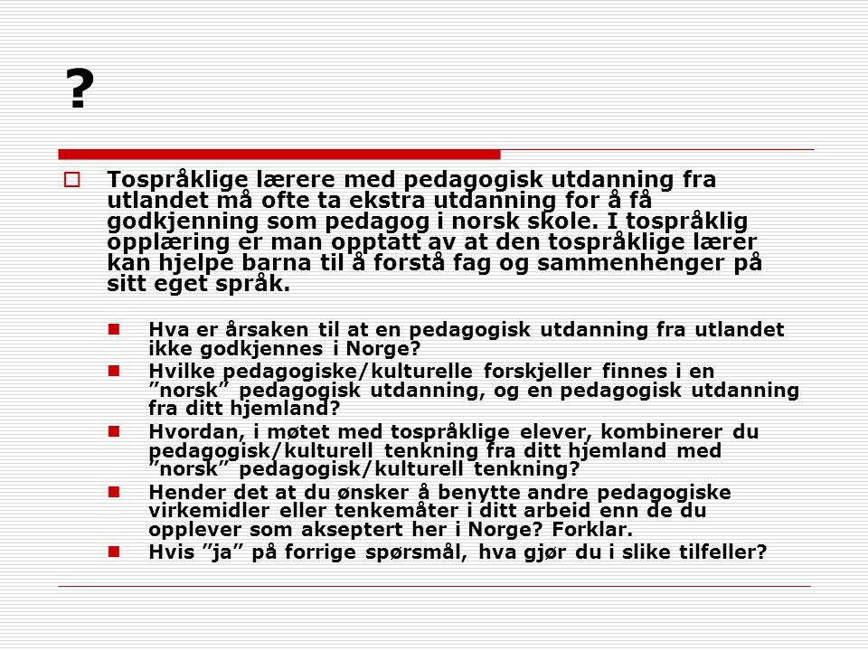 ?  Tospråklige lærere med pedagogisk utdanning fra utlandet må ofte ta ekstra utdanning for å få godkjenning som pedagog i norsk skole. I tospråklig