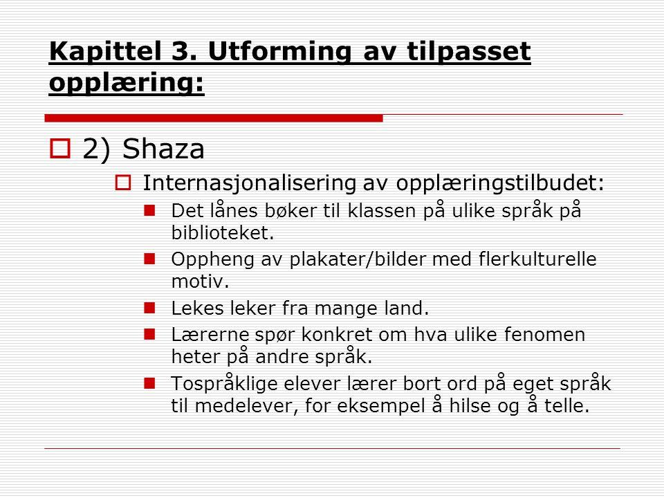 Kapittel 3. Utforming av tilpasset opplæring:  2) Shaza  Internasjonalisering av opplæringstilbudet: Det lånes bøker til klassen på ulike språk på b