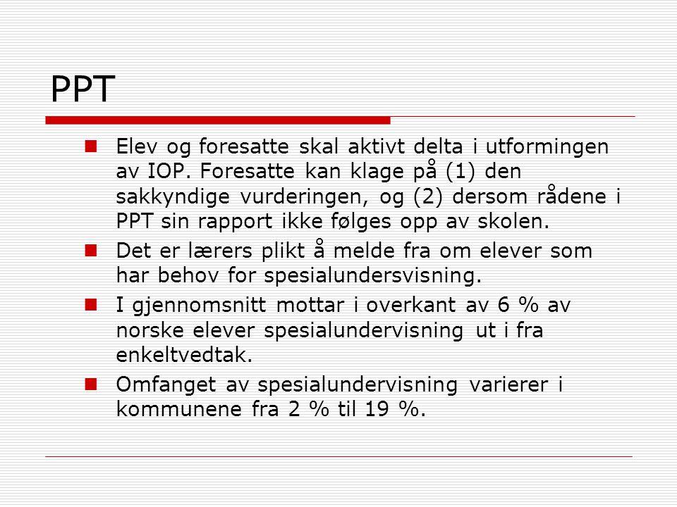 PPT Elev og foresatte skal aktivt delta i utformingen av IOP. Foresatte kan klage på (1) den sakkyndige vurderingen, og (2) dersom rådene i PPT sin ra