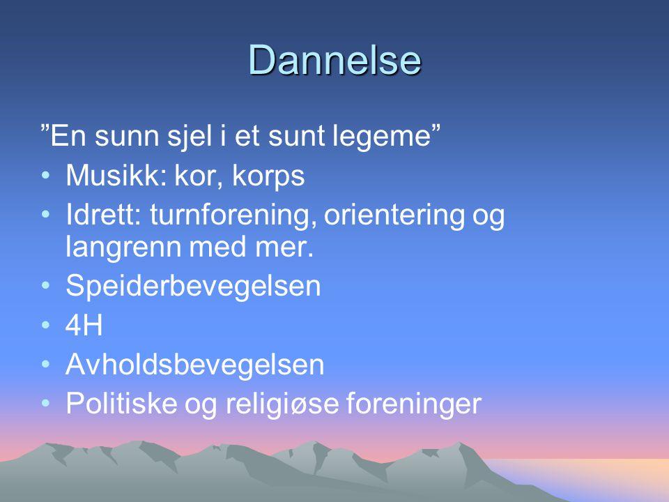 Dannelse En sunn sjel i et sunt legeme Musikk: kor, korps Idrett: turnforening, orientering og langrenn med mer.