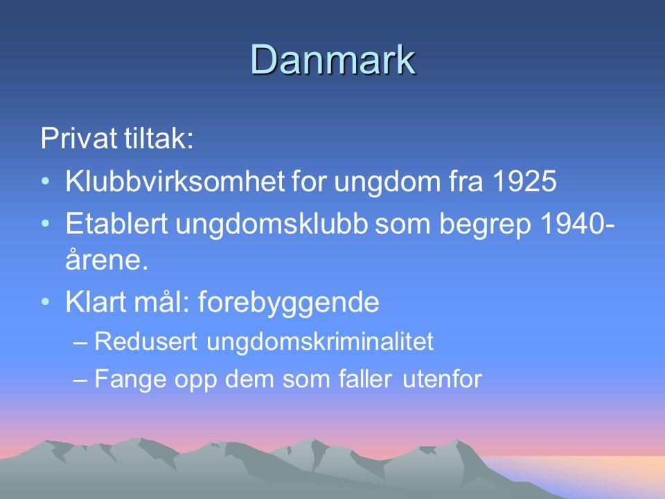Danmark Privat tiltak: Klubbvirksomhet for ungdom fra 1925 Etablert ungdomsklubb som begrep 1940- årene.