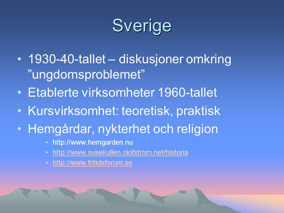 Sverige 1930-40-tallet – diskusjoner omkring ungdomsproblemet Etablerte virksomheter 1960-tallet Kursvirksomhet: teoretisk, praktisk Hemgårdar, nykterhet och religion http://www.hemgarden.nu http://www.susekullen.olofstrom.net/historia http://www.fritidsforum.se