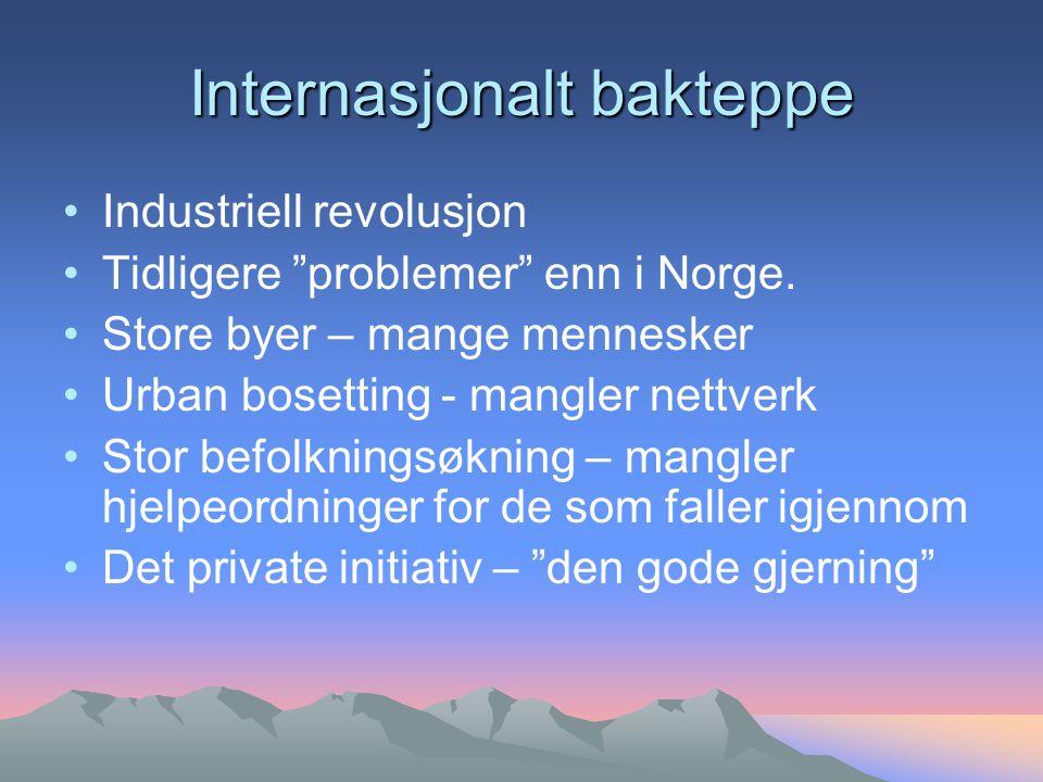 Internasjonalt bakteppe Industriell revolusjon Tidligere problemer enn i Norge.