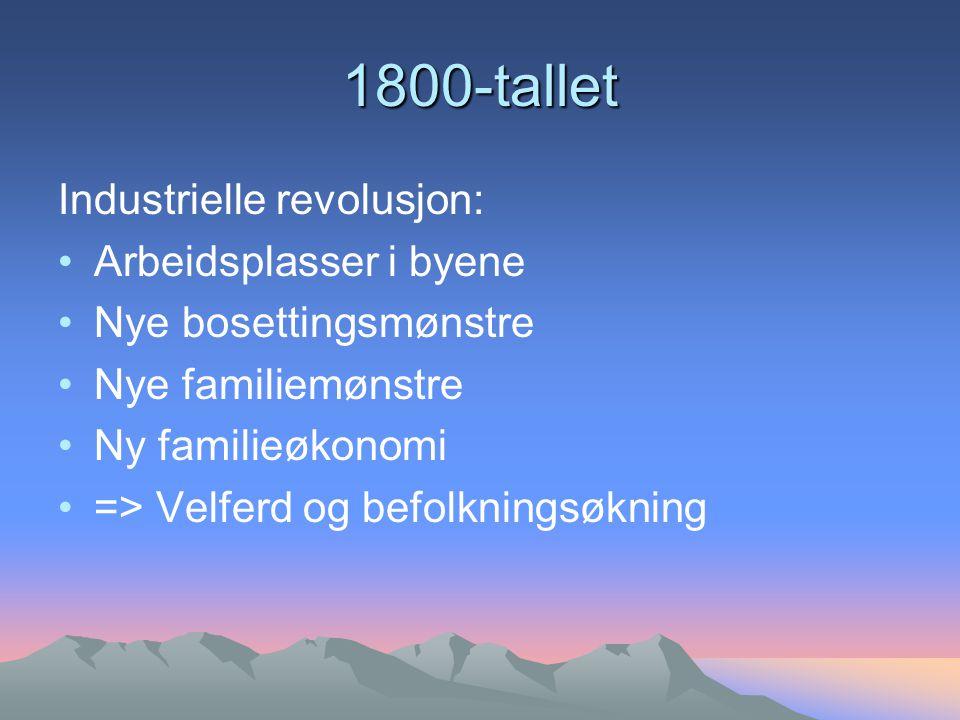 1800-tallet Industrielle revolusjon: Arbeidsplasser i byene Nye bosettingsmønstre Nye familiemønstre Ny familieøkonomi => Velferd og befolkningsøkning