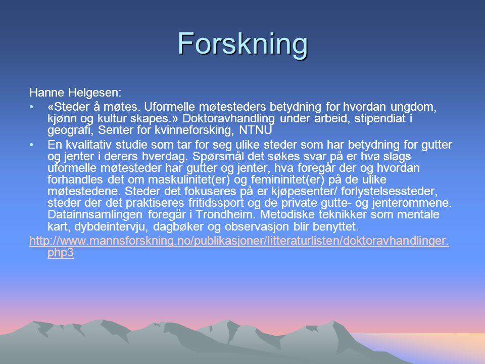 Forskning Hanne Helgesen: «Steder å møtes.