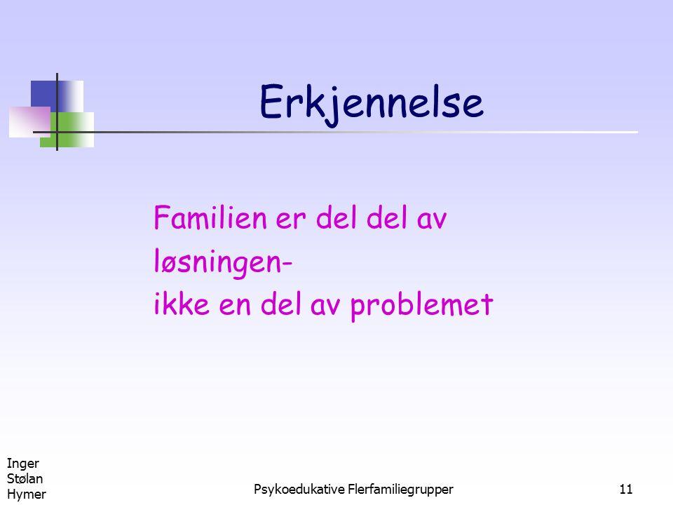 Inger Stølan Hymer Psykoedukative Flerfamiliegrupper11 Erkjennelse Familien er del del av løsningen- ikke en del av problemet
