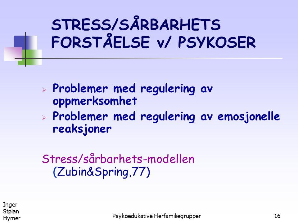 Inger Stølan Hymer Psykoedukative Flerfamiliegrupper16 STRESS/SÅRBARHETS FORSTÅELSE v/ PSYKOSER  Problemer med regulering av oppmerksomhet  Probleme