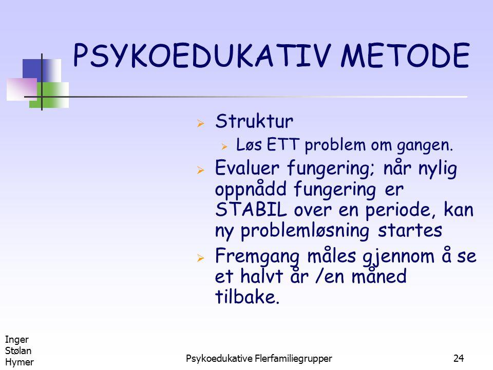 Inger Stølan Hymer Psykoedukative Flerfamiliegrupper24 PSYKOEDUKATIV METODE  Struktur  Løs ETT problem om gangen.  Evaluer fungering; når nylig opp