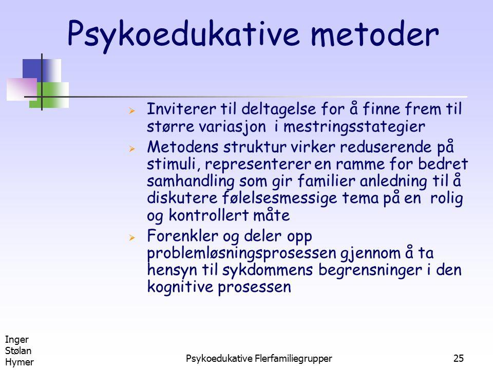 Inger Stølan Hymer Psykoedukative Flerfamiliegrupper25 Psykoedukative metoder  Inviterer til deltagelse for å finne frem til større variasjon i mestr