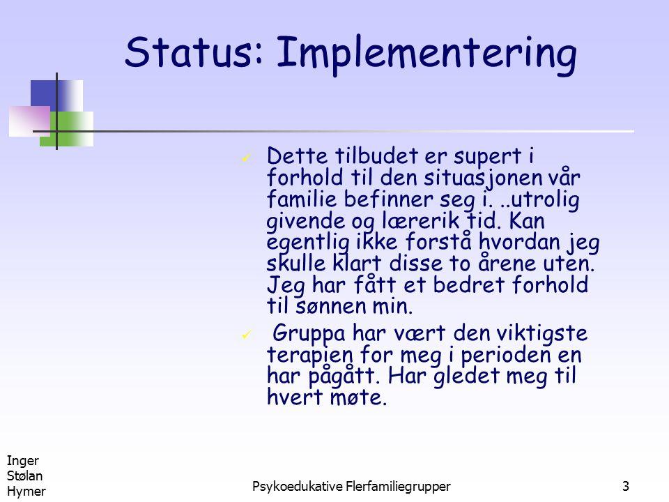 Inger Stølan Hymer Psykoedukative Flerfamiliegrupper3 Status: Implementering Dette tilbudet er supert i forhold til den situasjonen vår familie befinn