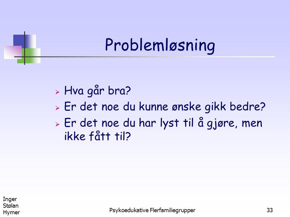 Inger Stølan Hymer Psykoedukative Flerfamiliegrupper33 Problemløsning  Hva går bra?  Er det noe du kunne ønske gikk bedre?  Er det noe du har lyst