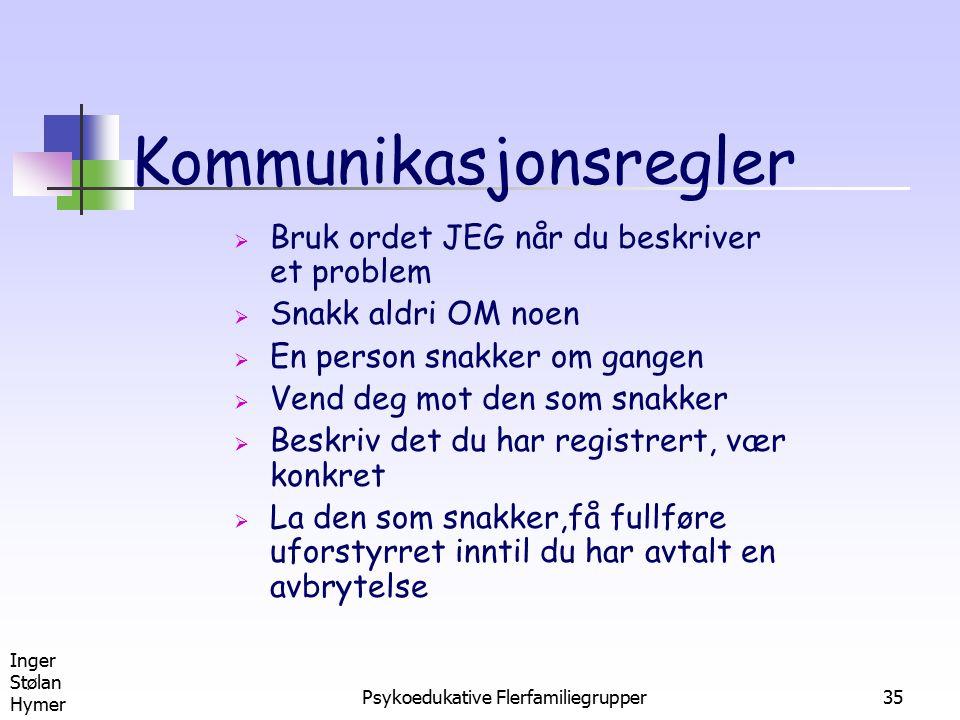 Inger Stølan Hymer Psykoedukative Flerfamiliegrupper35 Kommunikasjonsregler  Bruk ordet JEG når du beskriver et problem  Snakk aldri OM noen  En pe