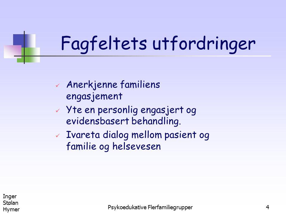 Inger Stølan Hymer Psykoedukative Flerfamiliegrupper15 Fellestrekk ved psykoedukativt familiearbeide Forståelse: Schizofreni er en sykdom Familien bærer ikke på ansvar for utvikling av lidelsen Metode: Familien inkluderes i behandlingsarbeidet som viktige samarbeidspartnere sammen med pasienten
