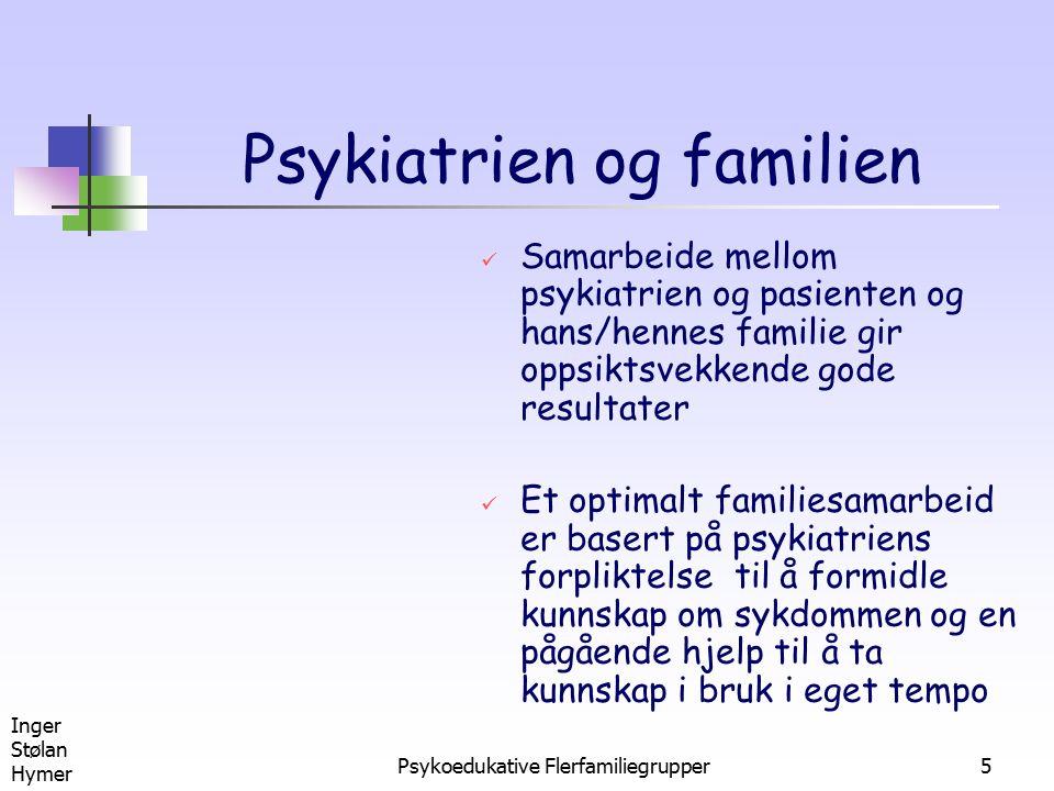 Inger Stølan Hymer Psykoedukative Flerfamiliegrupper5 Psykiatrien og familien Samarbeide mellom psykiatrien og pasienten og hans/hennes familie gir op