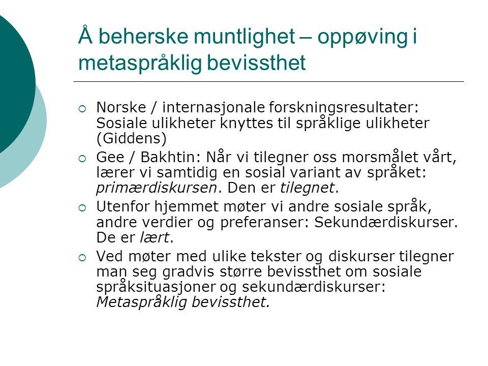 Å beherske muntlighet – oppøving i metaspråklig bevissthet  Norske / internasjonale forskningsresultater: Sosiale ulikheter knyttes til språklige uli