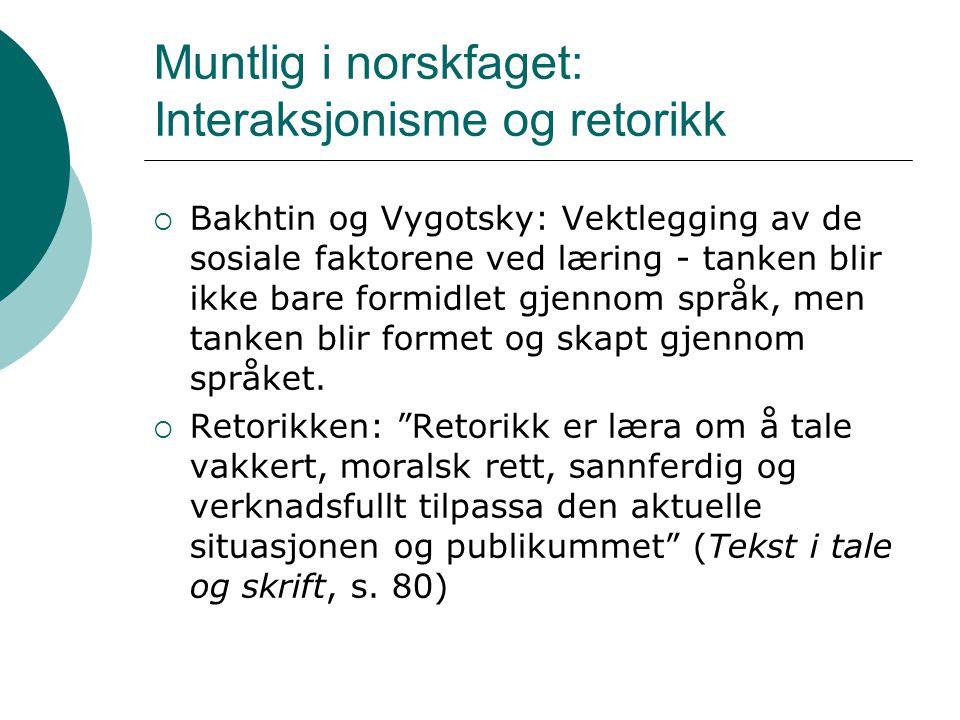 Muntlig i norskfaget: Interaksjonisme og retorikk  Bakhtin og Vygotsky: Vektlegging av de sosiale faktorene ved læring - tanken blir ikke bare formid
