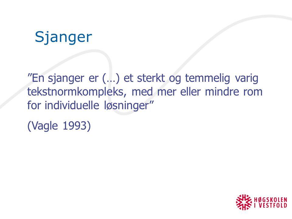"Sjanger ""En sjanger er (…) et sterkt og temmelig varig tekstnormkompleks, med mer eller mindre rom for individuelle løsninger"" (Vagle 1993)"