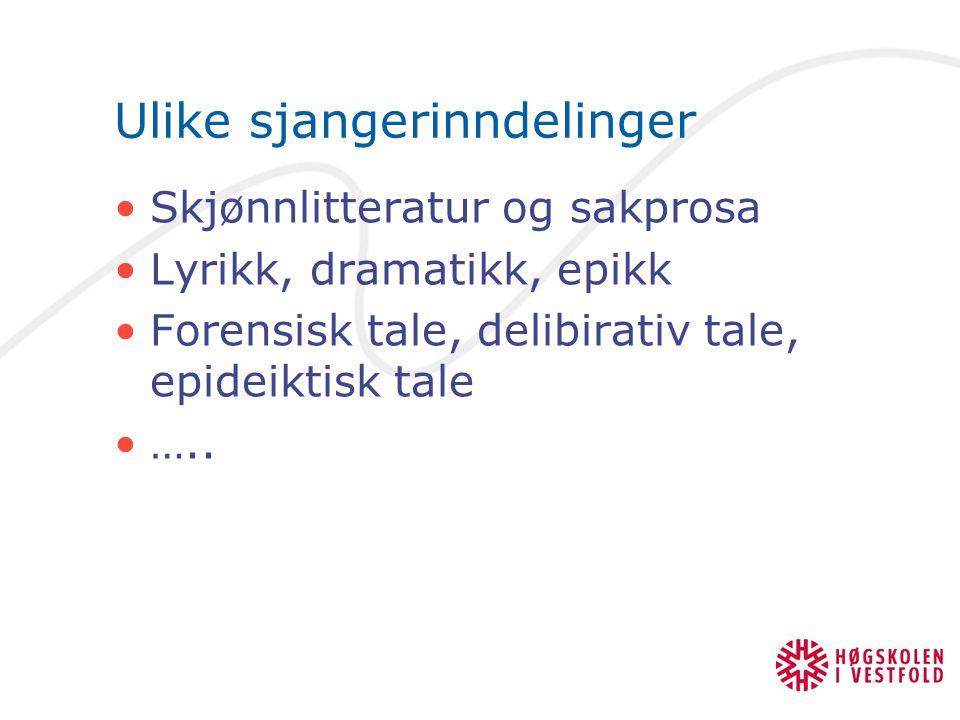 Ulike sjangerinndelinger Skjønnlitteratur og sakprosa Lyrikk, dramatikk, epikk Forensisk tale, delibirativ tale, epideiktisk tale …..