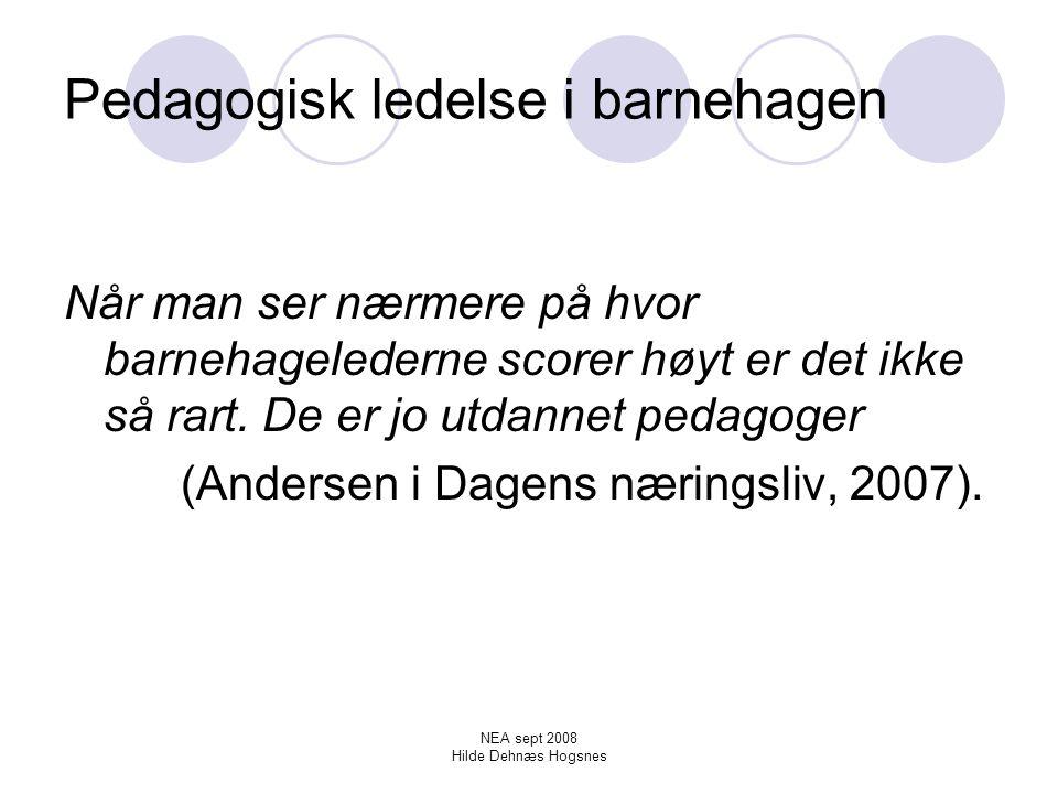 NEA sept 2008 Hilde Dehnæs Hogsnes Dokumentasjonen for barnehagens utside og innside Dokumentasjonen kan gjøre barnehagen mer robust og rustet til å møte utsidens krav Dokumentasjon blir til pedagogisk dokumentasjon først når den blir gjort til gjenstand for refleksjon (Birkeland, 2007).