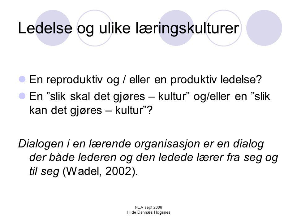 NEA sept 2008 Hilde Dehnæs Hogsnes Å skape en undringskultur Betydningen av å sette ord på det vi gjør Læring og avlæring - eller re-læring.