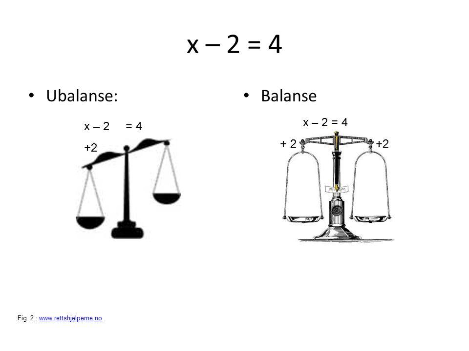 x – 2 = 4 Ubalanse: Balanse x – 2 = 4 +2 x – 2 = 4 + 2 +2 Fig. 2.: www.rettshjelperne.nowww.rettshjelperne.no
