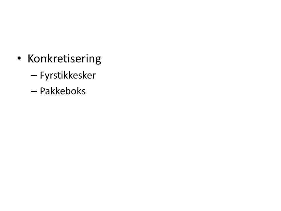 Konkretisering – Fyrstikkesker – Pakkeboks