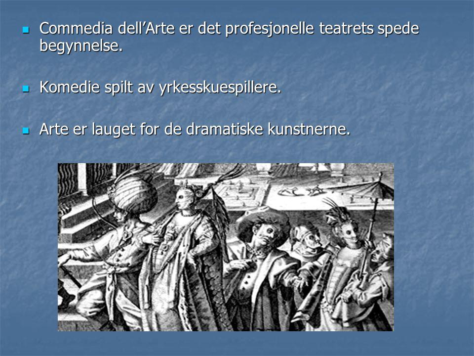 Commedia dell'Arte er det profesjonelle teatrets spede begynnelse. Commedia dell'Arte er det profesjonelle teatrets spede begynnelse. Komedie spilt av
