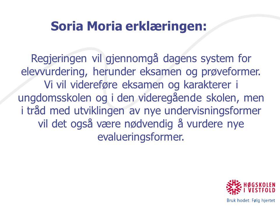 Soria Moria erklæringen: Regjeringen vil gjennomgå dagens system for elevvurdering, herunder eksamen og prøveformer.
