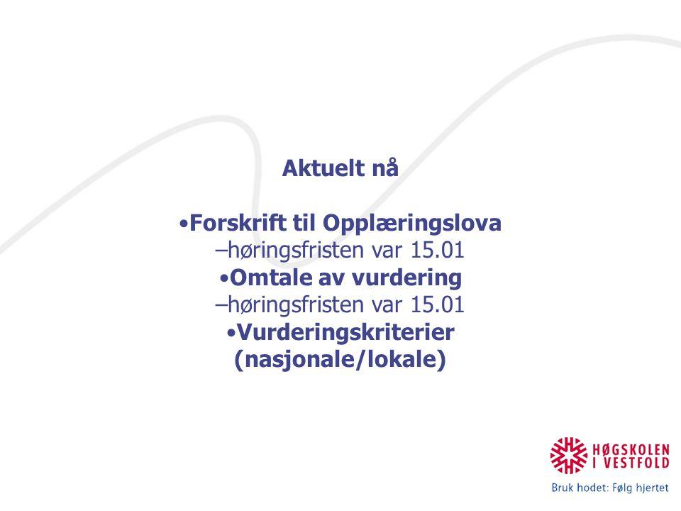 Aktuelt nå Forskrift til Opplæringslova –høringsfristen var 15.01 Omtale av vurdering –høringsfristen var 15.01 Vurderingskriterier (nasjonale/lokale)