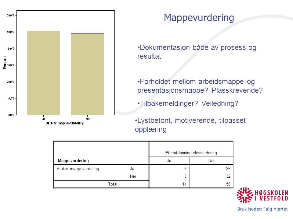 Mappevurdering Etterutdanning elevvurdering JaNei Bruker mappevurderingJa826 Nei332 Total1158 Dokumentasjon både av prosess og resultat Forholdet mellom arbeidsmappe og presentasjonsmappe.