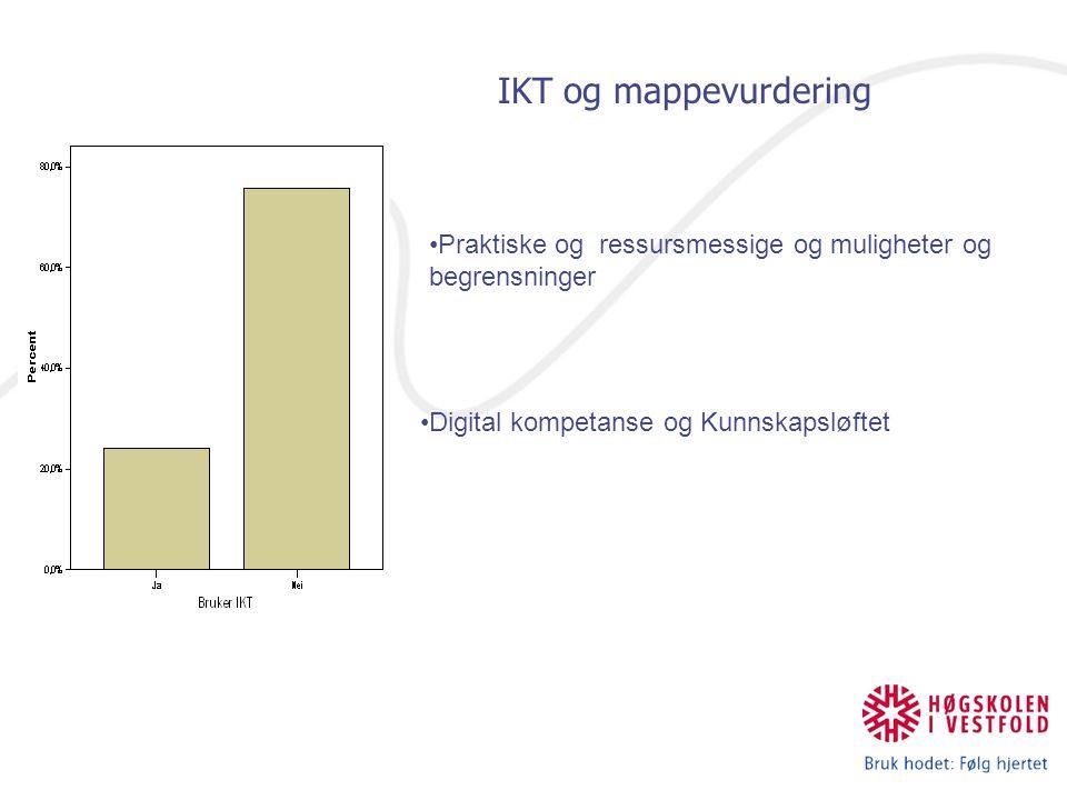 Praktiske og ressursmessige og muligheter og begrensninger Digital kompetanse og Kunnskapsløftet IKT og mappevurdering