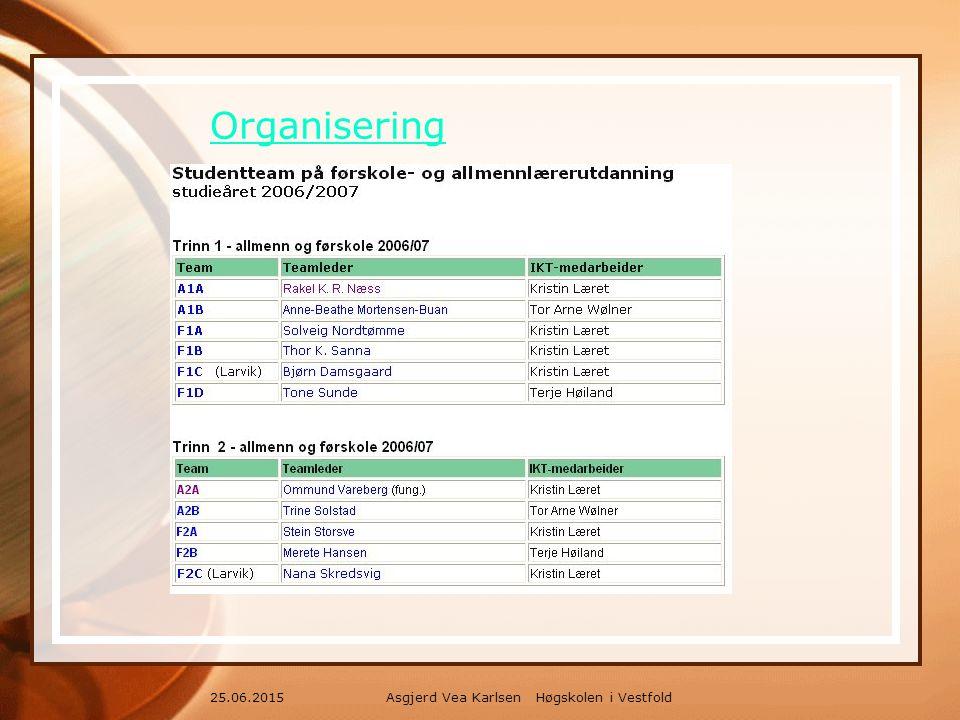 Asgjerd Vea Karlsen Høgskolen i Vestfold25.06.2015 Organisering