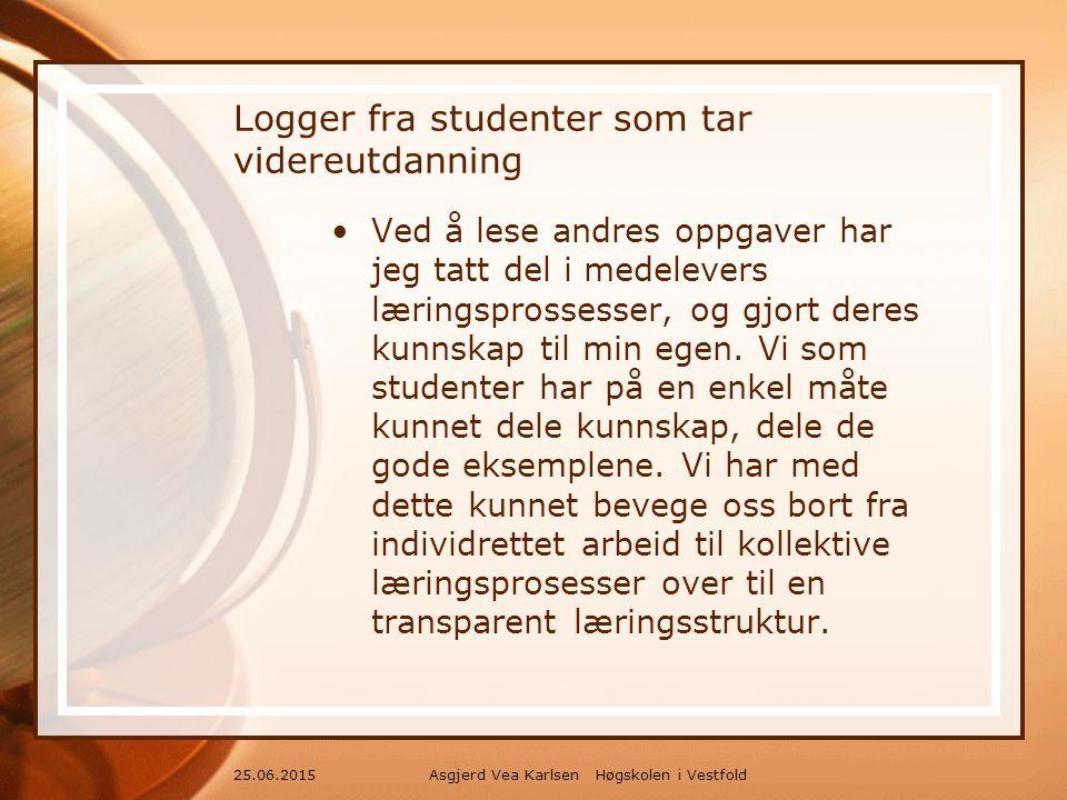 Asgjerd Vea Karlsen Høgskolen i Vestfold25.06.2015 Logger fra studenter som tar videreutdanning Ved å lese andres oppgaver har jeg tatt del i medelevers læringsprossesser, og gjort deres kunnskap til min egen.