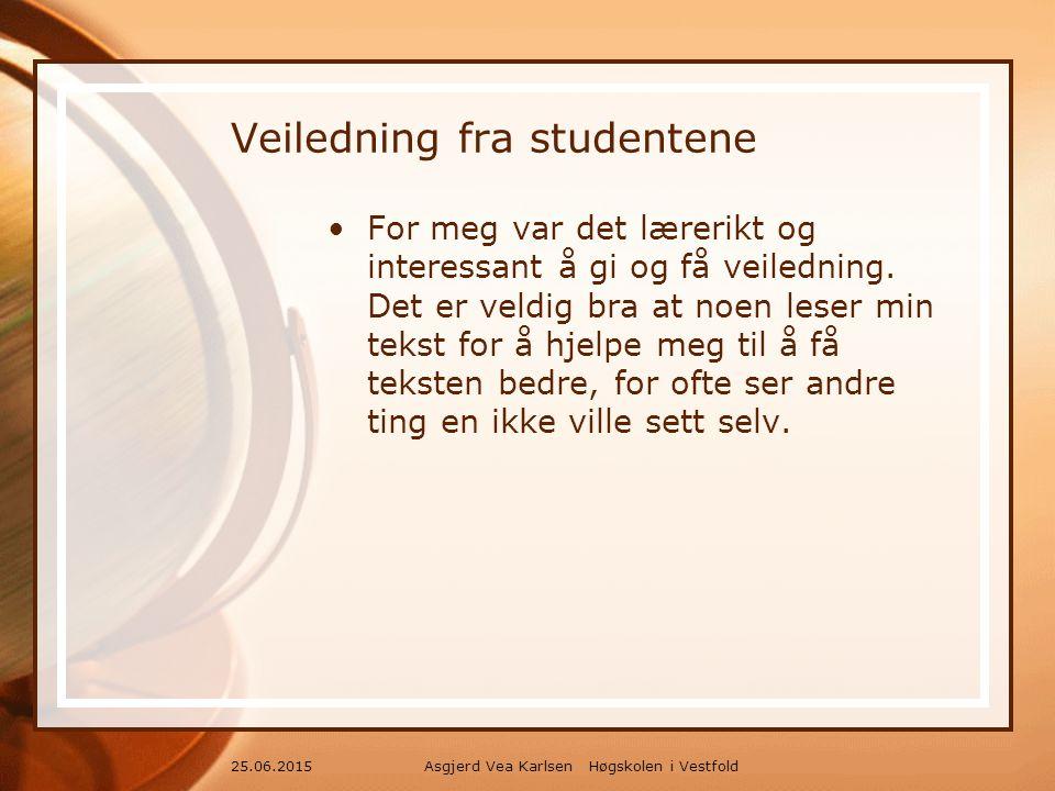 Asgjerd Vea Karlsen Høgskolen i Vestfold25.06.2015 Veiledning fra studentene For meg var det lærerikt og interessant å gi og få veiledning.