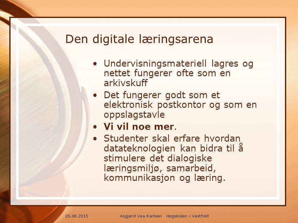 Asgjerd Vea Karlsen Høgskolen i Vestfold25.06.2015 Den digitale læringsarena Undervisningsmateriell lagres og nettet fungerer ofte som en arkivskuff Det fungerer godt som et elektronisk postkontor og som en oppslagstavle Vi vil noe mer.