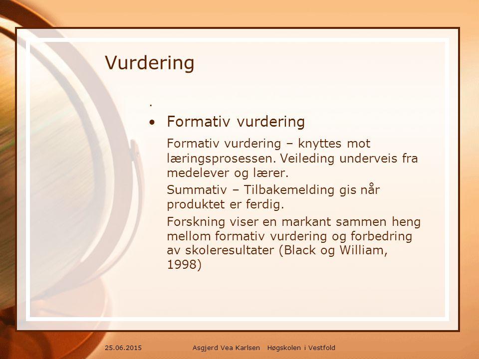 Asgjerd Vea Karlsen Høgskolen i Vestfold25.06.2015 Vurdering.