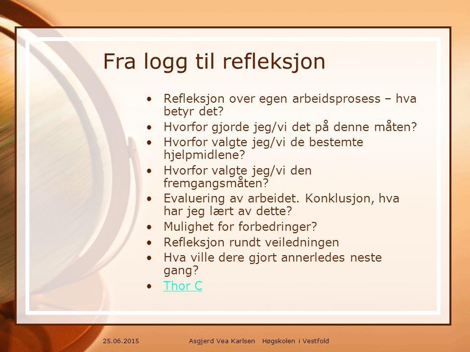 Asgjerd Vea Karlsen Høgskolen i Vestfold25.06.2015 Fra logg til refleksjon Refleksjon over egen arbeidsprosess – hva betyr det.