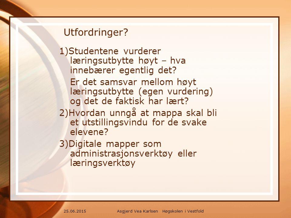 Asgjerd Vea Karlsen Høgskolen i Vestfold25.06.2015 Utfordringer.