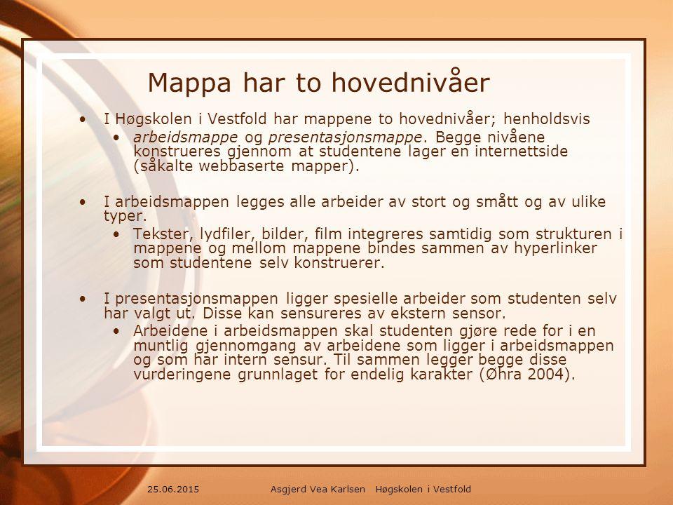 Asgjerd Vea Karlsen Høgskolen i Vestfold25.06.2015 Mappa har to hovednivåer I Høgskolen i Vestfold har mappene to hovednivåer; henholdsvis arbeidsmappe og presentasjonsmappe.